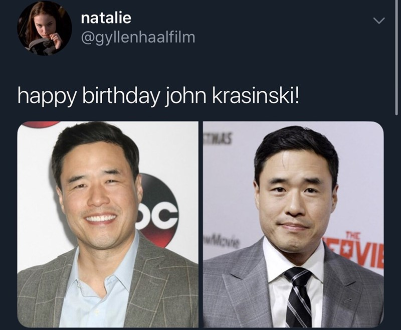 meme about john krasinkis birthday but it's the Asian guy who pretended to be him on the office
