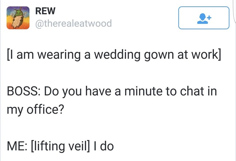 tweet post about wearing a wedding gown at work