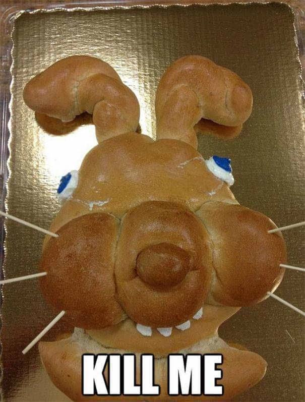 fail at cooking of bread shaped into a rabbit head