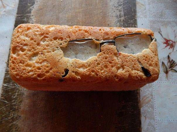 fail at cooking when glasses are baked into a cake