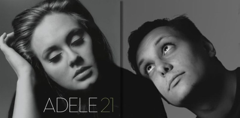 guy photoshops himself into Adele album cover so it looks like he's leaning his head on her shoulder
