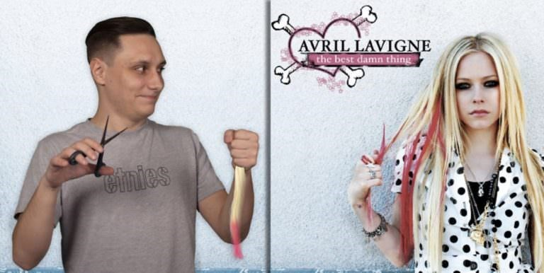 guy photoshopped into Avril Lavigne album cover to look like he cut a chunk from her hair