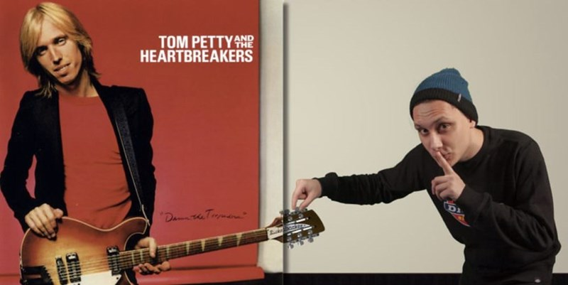 Tom Petty album cover where the guy photoshops himself in secretly changing thee tuning on Tom Petty's guitar