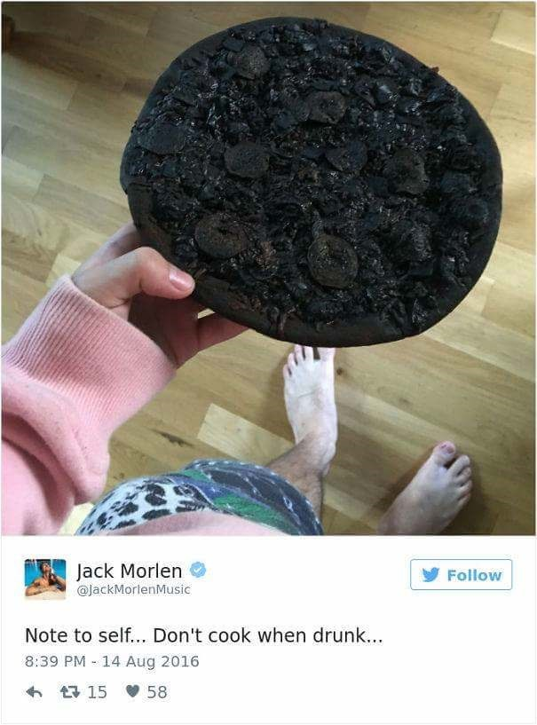 fail at cooking when the pizza come out burnt