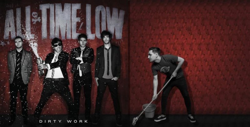 guy photoshopped into All Time Low album cover to look like he's moping the floor