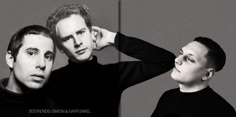 guy photoshopped into Simon and Garfunkel album cover to look like he's getting elbowed in the face