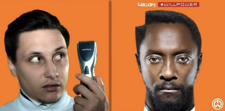 guy photoshopped into Will.i.am album cover to look like he just shaved a chunk from his hair
