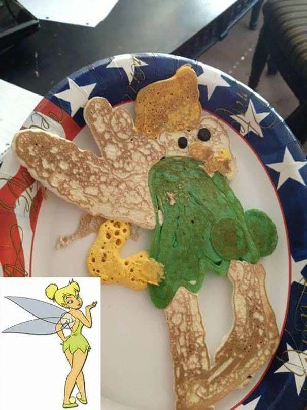 fail at cooking of a Tinkerbell pancake that looks nothing like her