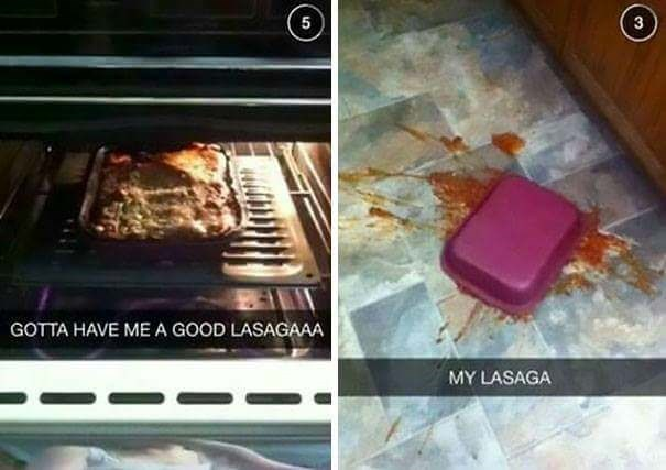 fail at cooking of a lasagna dish that fell on the floor
