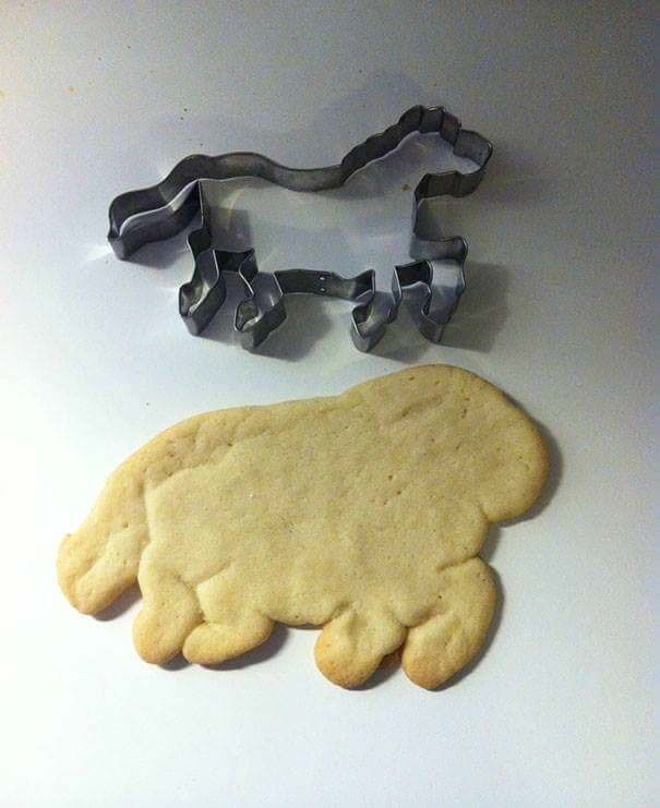 fail at cooking of a cutout shape of a horse