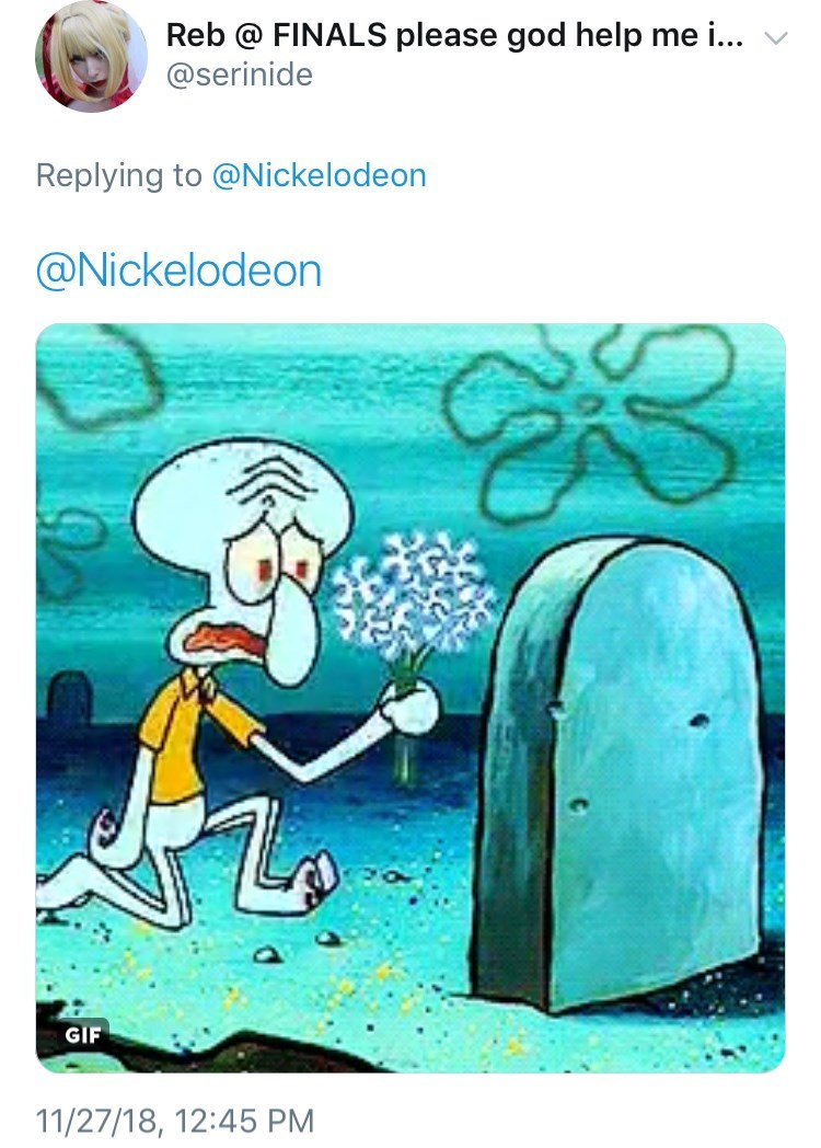 picture of Squidward kneeling in front of tombstone and crying while holding flowers