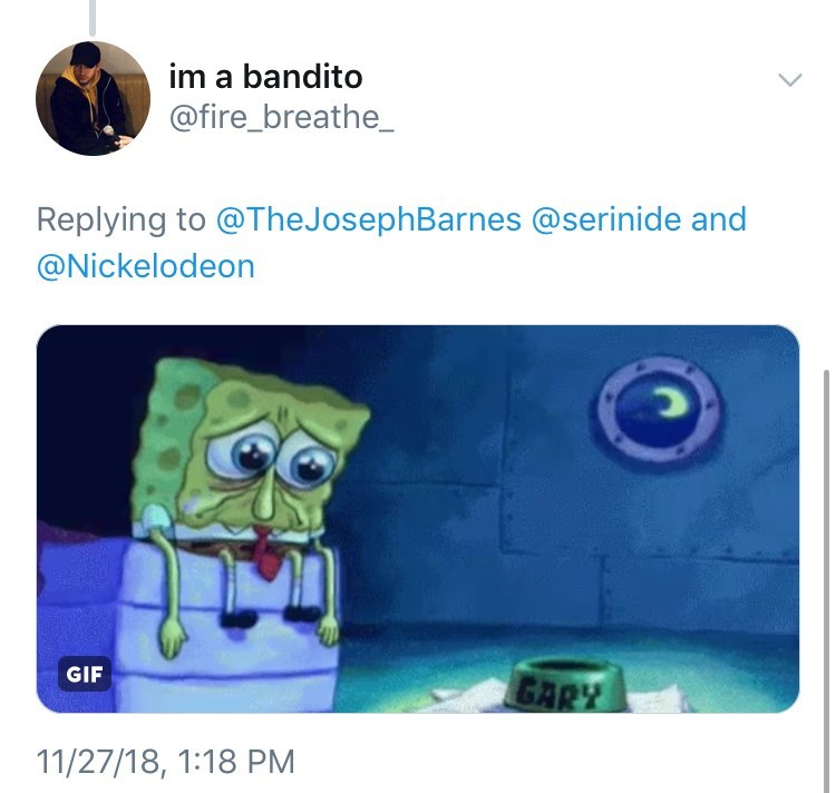 picture of Spongebob sitting at edge of bed with large tearful eyes