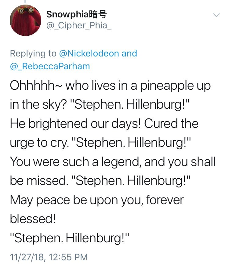 tweet about the Spongebob theme song with its lyrics changed to show tribute to late creator