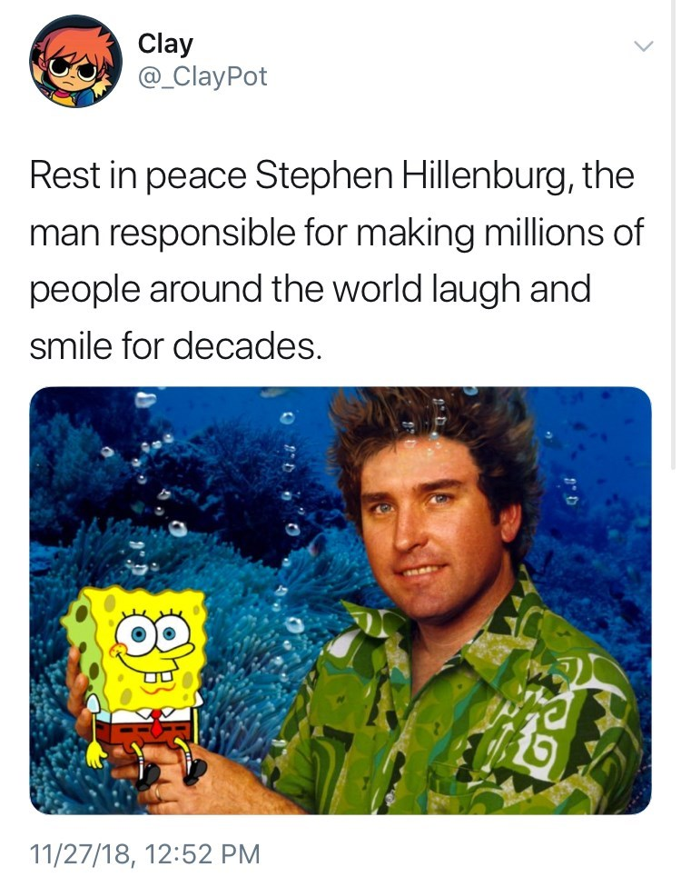 picture of Stephen Hillenburg appearing to be underwater and holding cartoon Spongebob in his hand