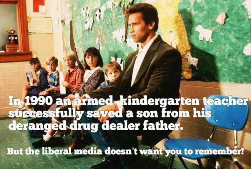 """liberal media meme about the plot of the movie """"Kindergarten Cop"""" with Schwarzenegger"""