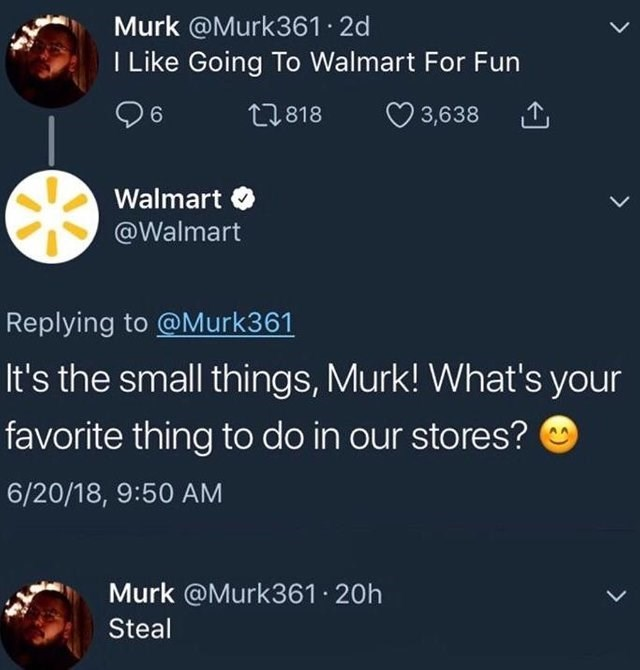 tweet post about telling Walmart you like to steal from them