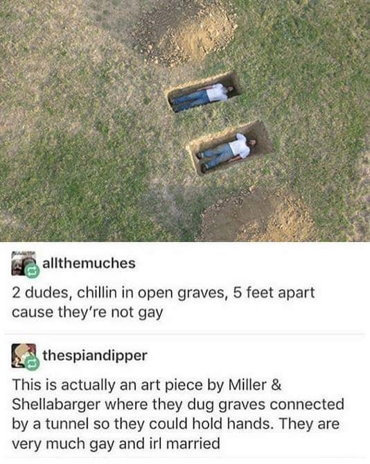 post of two men in a grave next to each other that is an art piece