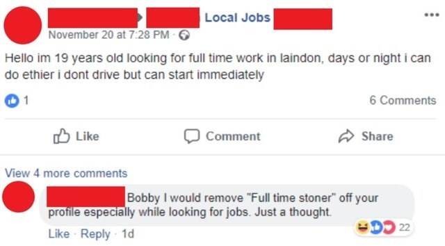 fb post of a person looking for a job and misspelling his sentences
