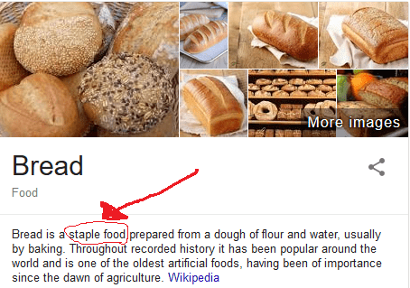 Google definition of bread describing it as a staple food