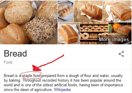Google definition of bread describing it as a staple food