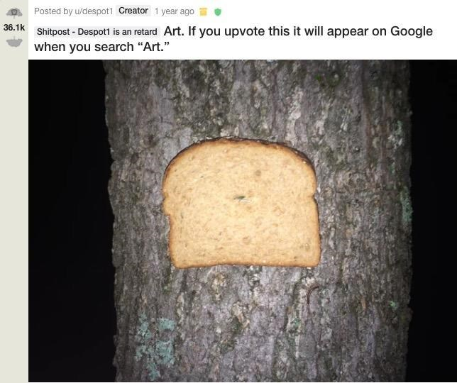 "Caption that reads, ""Art. If you upvote this it will appear on Google when you search 'art'"" above a pic of a piece of bread stapled to a tree"