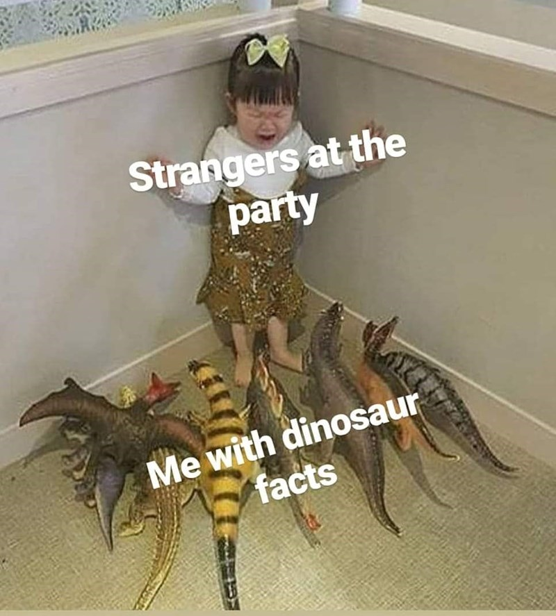 "Pic of a little girl, who represents ""Strangers at the party"" crying and being cornered by toy dinosaurs, that represent ""Me with dinosaur facts"""