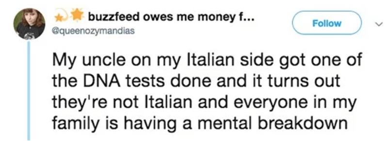 tweet post about a family finding out they're not Italian