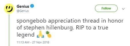 "Tweet that reads, ""Spongebob appreciation thread in honor of Stephen Hillenburg. RIP to a true legend"""