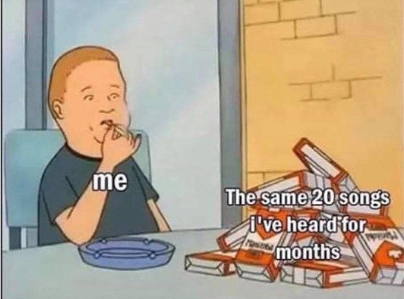 Funny meme about listening to the same music over and over again.