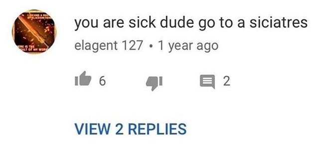meme about misspelling psychiatrist in a YouTube comment