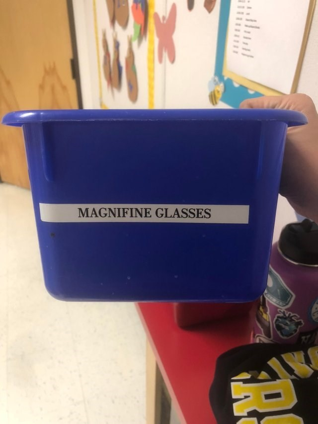 meme about misspelling the word magnifying on a box of magnifying glasses