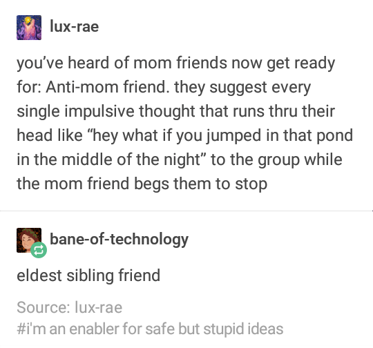 "funny tumblr post you've heard of mom friends now get ready for: Anti-mom friend. they suggest every single impulsive thought that runs thru their head like ""hey what if you jumped in that pond in the middle of the night"" to the group while the mom friend begs them to stop bane-of-technology eldest sibling friend Source: lux-rae #i'm an enabler for safe but stupid ideas"