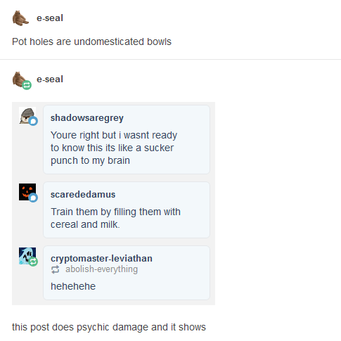 funny tumblr post Pot holes are undomesticated bowls e-seal shadowsaregrey Youre right but i wasnt ready to know this its like a sucker punch to my brain scarededamus Train them by filling them with cereal and milk. cryptomaster-leviathan abolish-everything hehehehe this post does psychic damage and it shows