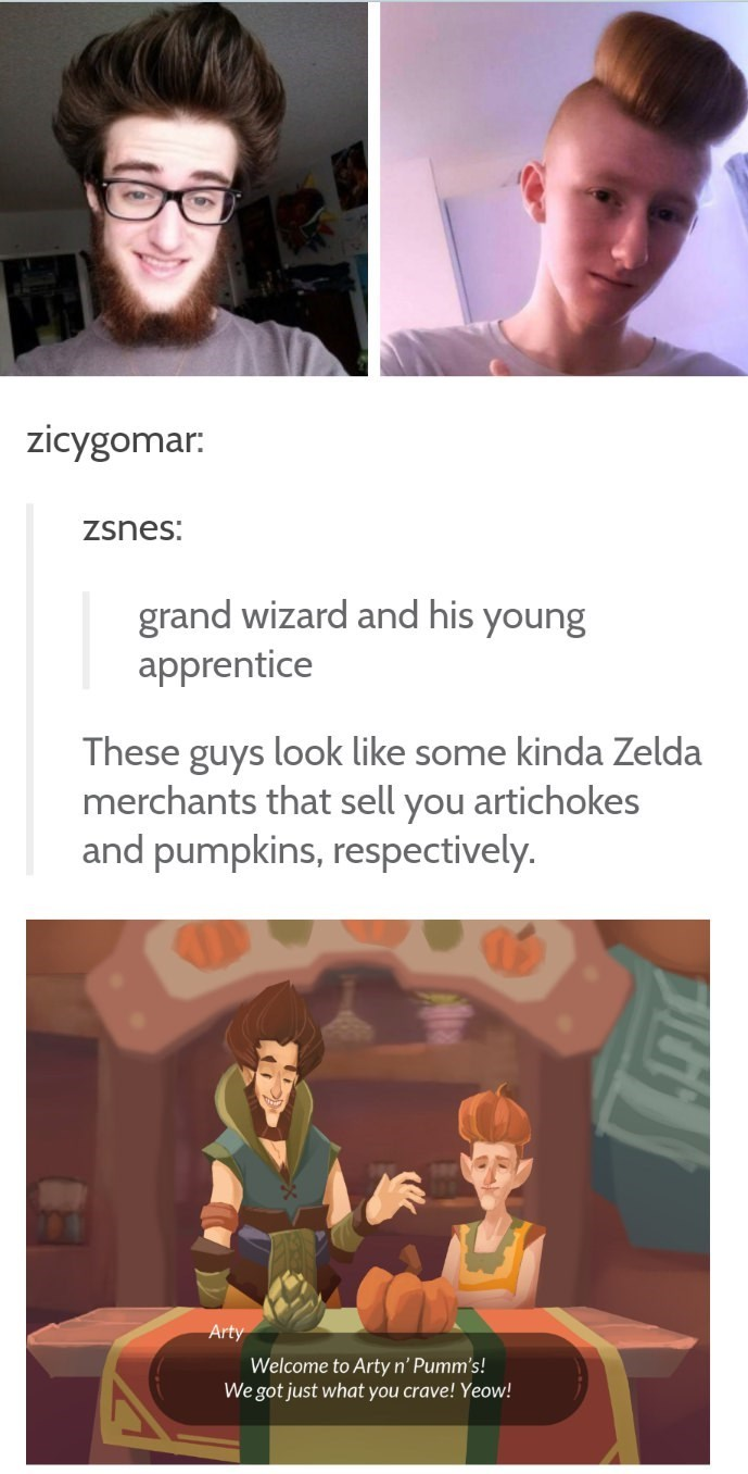 funny tumblr post grand wizard and his young apprentice These guys look like some kinda Zelda merchants that sell you artichokes and pumpkins, respectively. Arty Welcome to Arty n' Pumm's! We got just what you crave! Yeow!