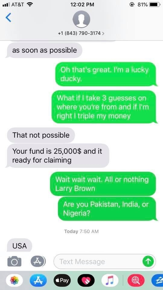dm of scammer offering prize of $25K