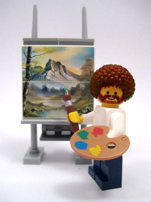 wholesome pic of Bob Ross as a Lego figure