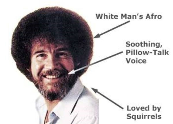 wholesome meme about the anatomy of Bob Ross