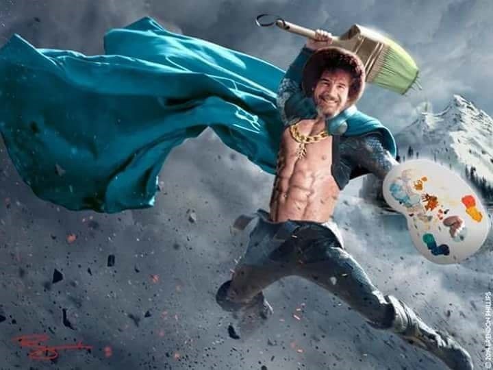 Bob Ross meme with his face photoshopped on a fantasy warrior body