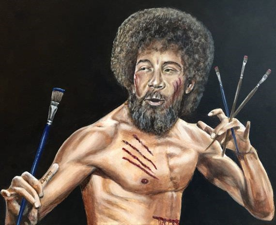 Bob Ross meme with his head photosopped on Bruce Lee's body