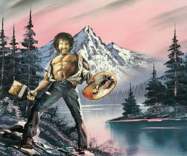 Bob Ross meme with his face photoshopped on ripped body holding drawing supplies
