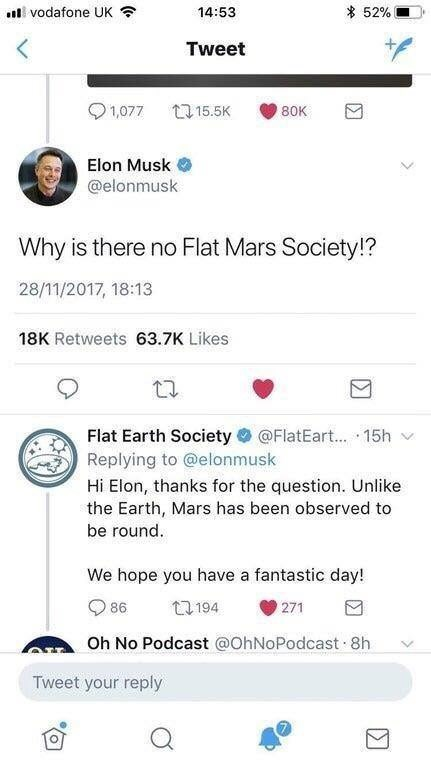 tweet post about Elon Musk tweeting a question to the flat earth society