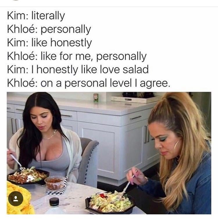 meme about the Kardishians eating salad and describing their feelings towards it