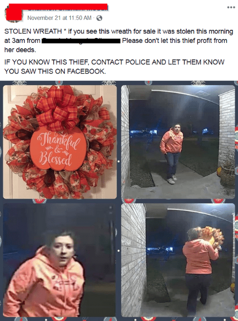 Facebook post about stolen wreath with pictures of the thief from the security cam