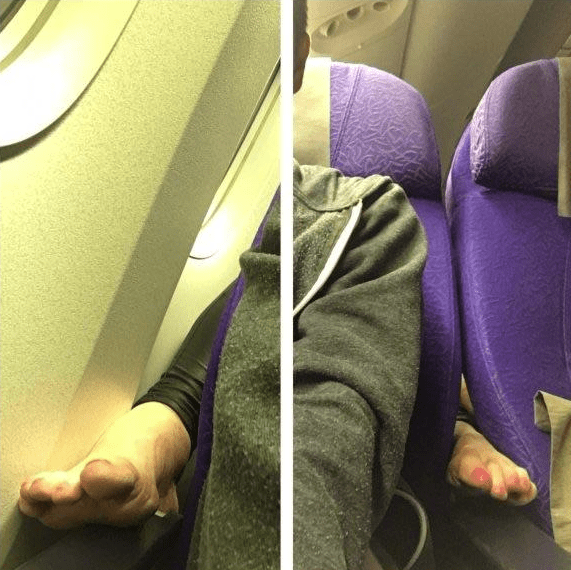 pictures of woman putting her feet on the seat of the person sitting in front of her on airplane