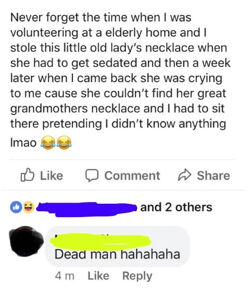 Facebook post from amused person who stole necklace from old lady and made her cry