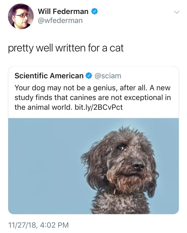 tweet post about science after they said dogs are not exceptional and blaming it on cats