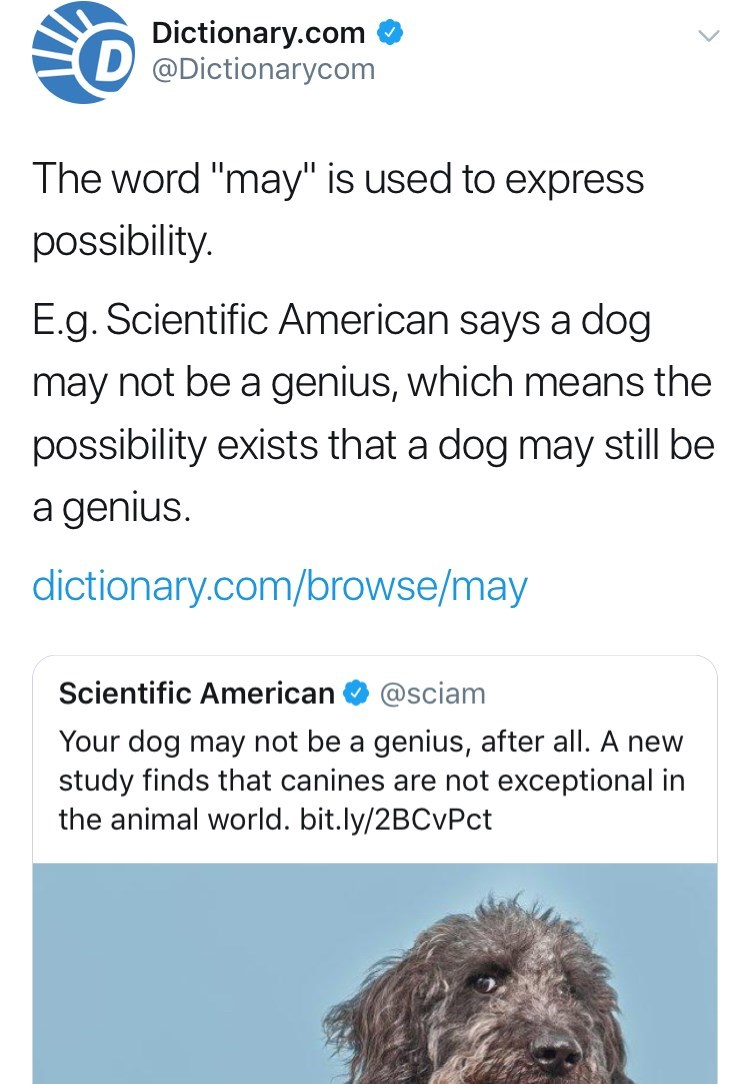 tweet post from Dictionary.com trying to disprove science claims about dogs