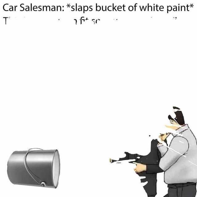 "Caption that reads, ""Car salesman: *Slaps bucket of white paint*"" above a pic of a bucket of paint being spilled all over the page"