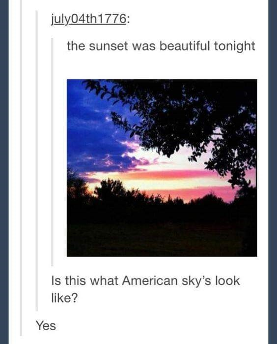 classic american meme of the sky looking like the colors of the american flag