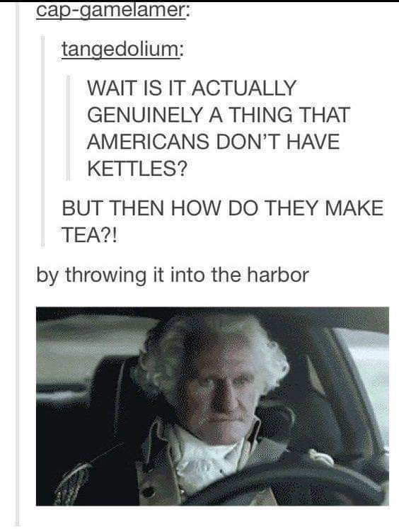 murica meme - Text - cap-gamelamer: tangedolium: WAIT IS IT ACTUALLY GENUINELY A THING THAT AMERICANS DON'T HAVE KETTLES? BUT THEN HOW DO THEY MAKE TEA?! by throwing it into the harbor